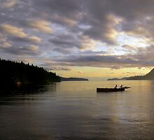 Lone Barge - Howe Sound by Carl Olsen