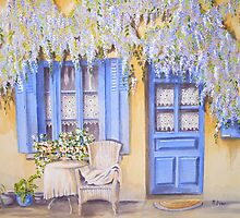 Blue shutters with wisteria by FranEvans