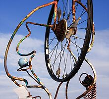 Bicycle wheel sculpture by Susan Leonard