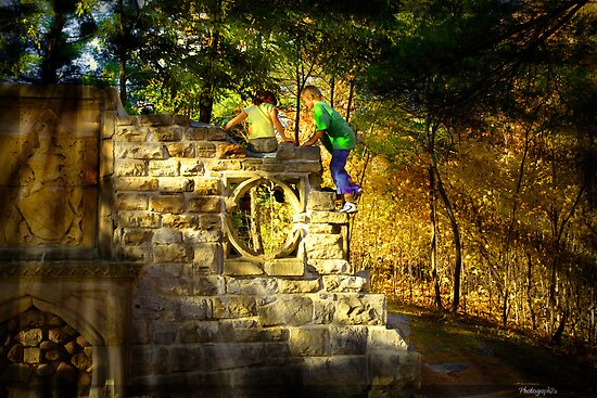Kids Playing on the monuments of MacKenzie-King Estate by Yannik Hay