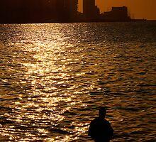 Havana Sunset & lone figure, Cuba  by buttonpresser