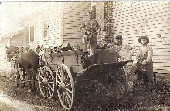 My grandfather working a coal wagon 1915 by Samohsong