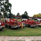 CFA Fire Trucks in Drouin's Civic Park, Victoria by Bev Pascoe