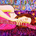 Guitar Girl in a Pink Landscape  by Belinda &quot;BillyLee&quot; NYE (Printmaker)