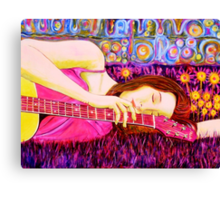 Guitar Girl in a Pink Landscape  Canvas Print