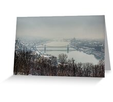 Budapest in the snowy fog Greeting Card