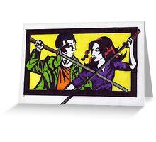 Samuri Sword Clash Greeting Card