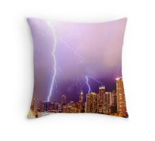 Lightning striking Chicago Throw Pillow