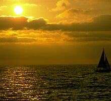 Sunset and Sailboat by Doug Greenwald