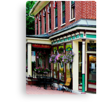 Corner Restaurant with Hanging Plants Canvas Print