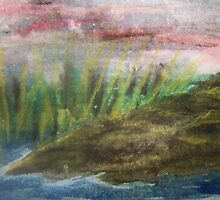 watercolor painting water and rock line 5 x 7 by DiamondRose