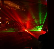 Laser Light Show in the Atrium of the Cruise Ship Pacific Dawn. by Mywildscapepics