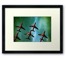 Red Arrows, Green Sky Framed Print