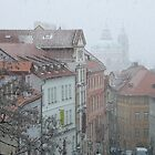 The snow falling on Prague by krista121