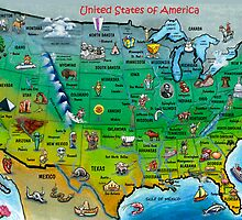 USA Cartoon Map CARD by Kevin Middleton