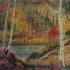 A Peaceful Pond -pastel chalk by Gordon Pegler