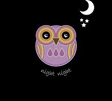 Night Night Purple Owl Card by Louise Parton