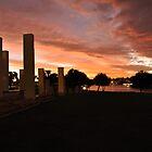 Sunset over the Mandurah War Memorial by Peter Rattigan