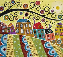 Swirl Tree And Houses by karlagerard