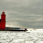 One Red Lighthouse by Bradley B.  Huizenga