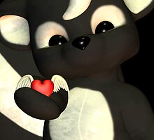Happy Mother's Day With Cute Little Skunk Holding Winged Heart by Moonlake