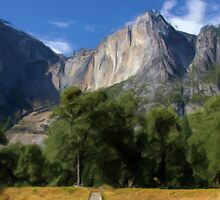 Yosemite Falls, California as pseudo oil painting by Susan Leonard