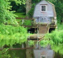 Boathouse on the Lake as pseudo oil painting by Sue Leonard