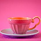 Pink and baby blue vintage teacup by Zoë Power