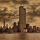 Downtown Manhattan, USA &amp; WTC Towers, Circa 1979 by Chris Lord