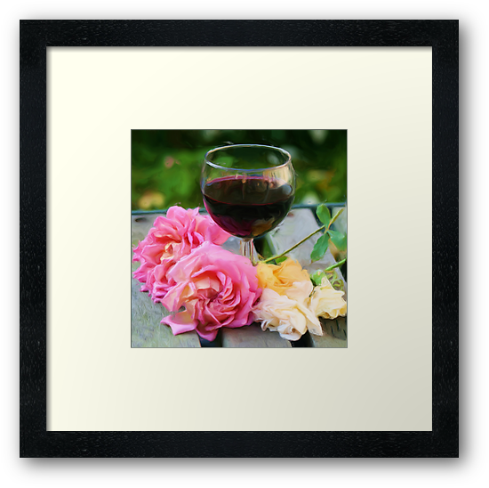 Wine glass with roses as pseudo painting by Susan Leonard