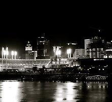 Cincinnati skyline, black and white by HeatherMScholl