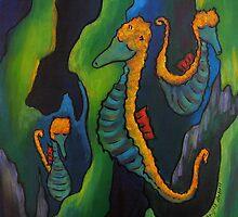 Proud seahorses by Ingrid Russell