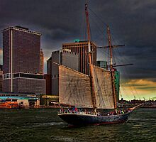 Sailing into the East River, New York City by Chris Lord