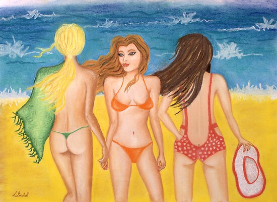 'Beach Belles' by Lisa Frances Judd ~ QuirkyHappyArt