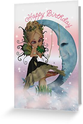 Birthday Card With Fairy Kissing Frog by Moonlake
