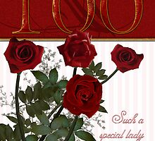 100th Birthday Card With Roses  by Moonlake