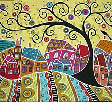 Bird Ten Houses And A Swirl Tree by karlagerard