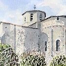 Back view of the church at Bussière-Badil, France by ian osborne