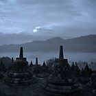 Borobudur at sunrise 2 by pixelninja3000