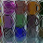 Colorful Cups Through a Tiled Glass Door by MaeBelle
