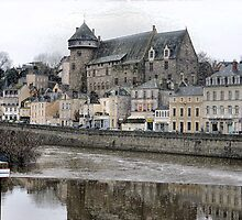 Middle age castle in dowcenter at Laval (France) by Franlaval
