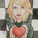 Faithful Heart Watercolor Painting by Jaymilina