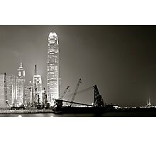 Hong Kong Harbour in smog.. Photographic Print
