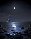 Sailing Ship On A Moonlit Bay by Chris Lord