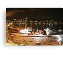 Night harbor (Stockholm, Sweden) Canvas Print