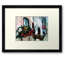 Passing by the flower box Framed Print