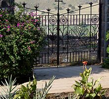 Wrought Iron Gate at Church of the Beatitudes by Lucinda Walter