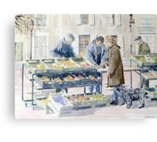 Market scene, Montbron, France Canvas Print