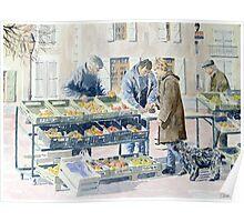 Market scene, Montbron, France Poster