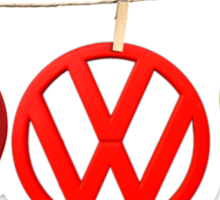 VW Badges Drying on the Line T-shirt Sticker